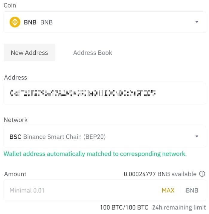 Withdraw BNB on Binance